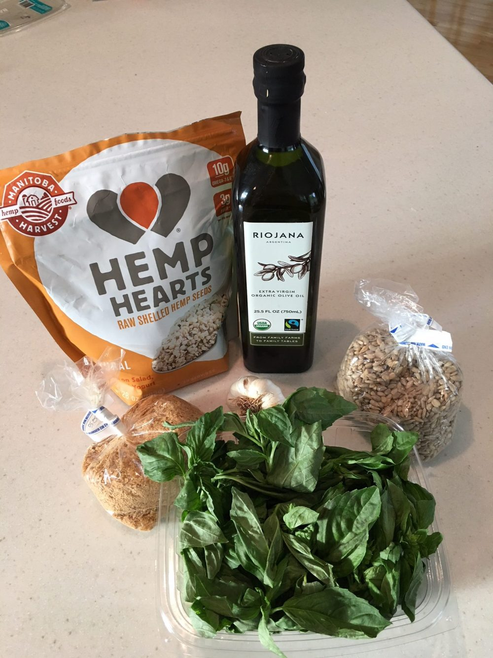 Nut and dairy free pesto ingredients